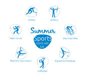Summer sports icons set, 5 of 6, vector illustration, template Royalty Free Stock Photography