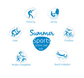 Summer sports icons set, 6 of 6, vector illustration, template Stock Image