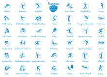 Summer sports icons set, vector pictograms Stock Photos