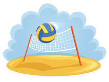 Summer sports. Vector illustration of ball and volleyball net Royalty Free Stock Photography