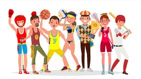 Summer Sports Vector. Set Of Players In Boxing, Hiking, Basketball, Volleyball, Golf, Lacrosse, Baseball. Isolated On vector illustration