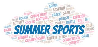 Summer Sports word cloud. Wordcloud made with text only stock illustration