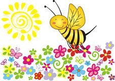 Summer spring. Flower bee graphic illustration Royalty Free Stock Images