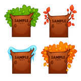 Summer, spring, autumn, winter, banners. For your text looking like a season tree Stock Image