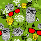 Summer or spring bright seamless pattern with smart birds in glasses. Stock Photo