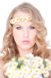 Summer spring camomile hair. Beauty shot of blonde woman with camomile flowers in hair for spring or summer Stock Image
