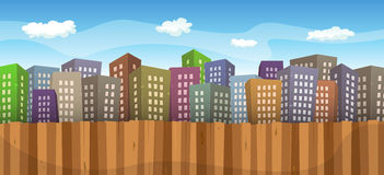 Summer Or Spring Cityscape Background vector illustration