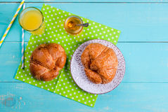 Summer or spring continental breakfast stock photo
