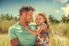 Summer spring father with daughter Royalty Free Stock Photos