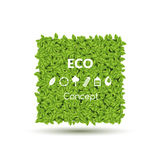 Summer Spring Green Square or Bubble for speech, Green leaves and Eco icons set. Vector illustration. Stock Photo