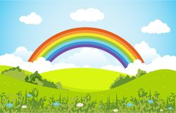 Free Summer Spring Green Valley Rainbow Outdoor Landscape Illustration Stock Photos - 145530133