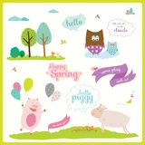 Summer or spring illustration with funny animals Royalty Free Stock Photography