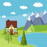 Summer or spring landscape scene with country farm house with chimney stock illustration