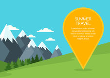Summer or spring mountains landscape, vector background. Pin mapping mark with place for text. Stock Images