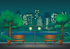 Free Summer, Spring Night Park Scene. Two Benches With Trash Cans And Street Lamp On A Park Trail With Lush Green Trees And Bushes. Stock Photos - 142890363