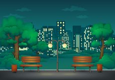Free Summer, Spring Night Park. Two Benches With Trash Cans And Street Lamp On A Park Trail With Cityscape In The Background. Stock Image - 142890361