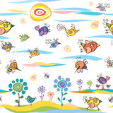 Summer and spring pattern with birds and bees Royalty Free Stock Photos