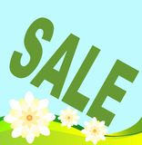 Summer and spring sales with the flowers. Big green sale' with flowers Royalty Free Stock Image