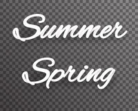 Summer spring shaded text template realistic 3d transparent background vector illustration Stock Photos