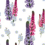 Summer spring wild lupines pink flowers and blue forget-me-not flowers. White background. Seamless floral pattern. Textile pattern. Field wild of flowers Royalty Free Stock Photo