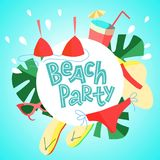 Summer square flyer design for promotion beach party with colorful beach elements vector illustration