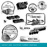 Summer stamps. Set of different grungy summer- and holiday-themed rubber stamps Stock Photo