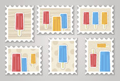 Summer stamps ice creame. Vector eps 10 Royalty Free Stock Photography