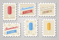 Summer stamps ice creame. Vector eps 10 Stock Image