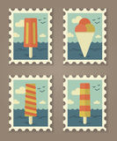 Summer stamps ice creame Stock Photos