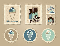 Summer stamps ice creame Royalty Free Stock Images