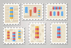 Summer stamps ice creame. Vector eps 10 Stock Photography