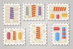 Summer stamps ice creame Royalty Free Stock Photo