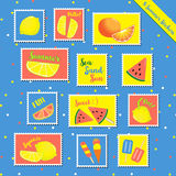 Summer stamps-1. Set of hot summer stamps items cute gift and scrapbook paper craft with watermelon, lime, lemon, orange, ice-cream, Popsicle, fresh fruit Royalty Free Stock Photo