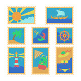 Summer stamps. Set of vector stamps with summer topic objects Stock Photos
