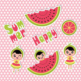 Summer sticker set with cute girl and watermelon  cartoon for summer sticker set Royalty Free Stock Photos