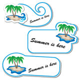 Summer sticker set with palm tree Royalty Free Stock Photo