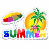 Summer Sticker with Text, Palmtree, Flowers and Parasol. Summer Sticker Style text with ornamental Palmtree and Exotic Flowers, and a big, colorful Parasol for Stock Photo