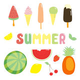 Summer stickers ice cream and fruits Royalty Free Stock Photography