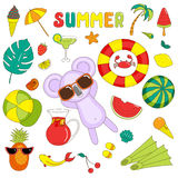 Summer stickers with koala Royalty Free Stock Photo