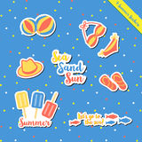 Summer stickers-2. Set of hot summer sticker items cute gift and scrapbook paper craft with hat, bikini, ball, fish, sandal, ice-cream, Popsicle, colorful fun on Royalty Free Stock Photos