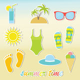 Summer stickers Royalty Free Stock Photography