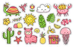 Summer stickers. Set of cartoon patches, badges, pins, prints for kids. Doodle style. Vector illustration. vector illustration