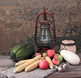 Summer still-life. Composition from vegetables and fruit with an old oil lamp Stock Images