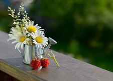 Summer still life with berries, watering can and flowers Royalty Free Stock Photos