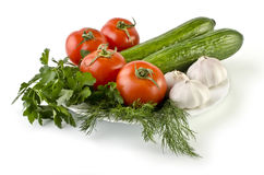 Summer still life consisting of vegetables isolated over white Stock Image