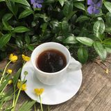 Summer still life in the open air: black coffee and wild flowers on a old gray wooden background Stock Images