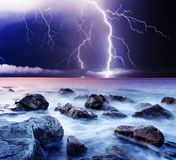 Thunderstorm. Summer storm beginning with lightning Stock Photography