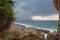 Summer storm near the shores of Peloponnese, Greece. stock photo