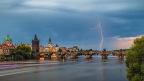 Summer storm over Charles bridge with lightning, Prague, Czech Republic royalty free stock photography