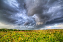 Summer storm over the meadow Stock Photography